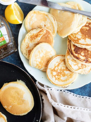 A plate of drop scones (scotch pancakes).