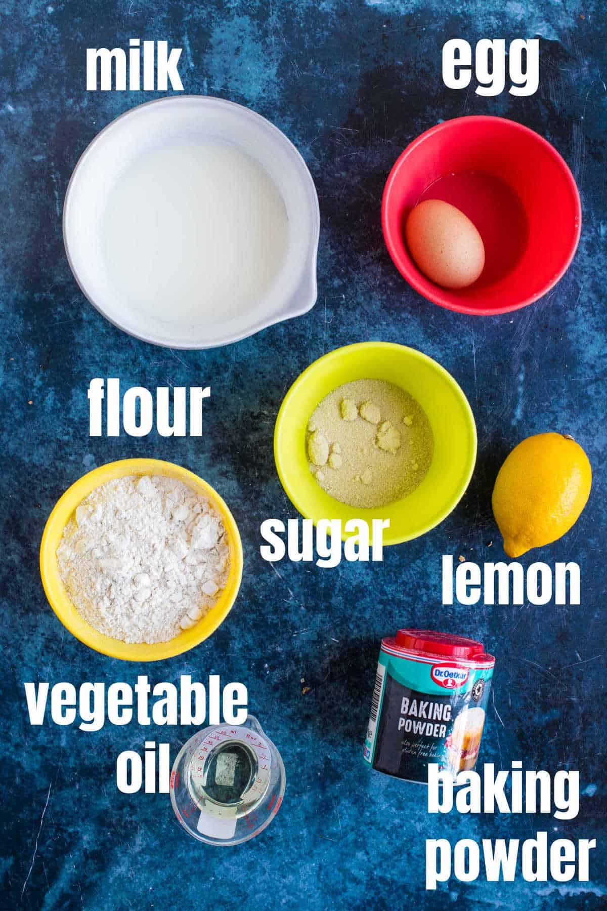 Ingredients for scotch pancakes (drop scones)