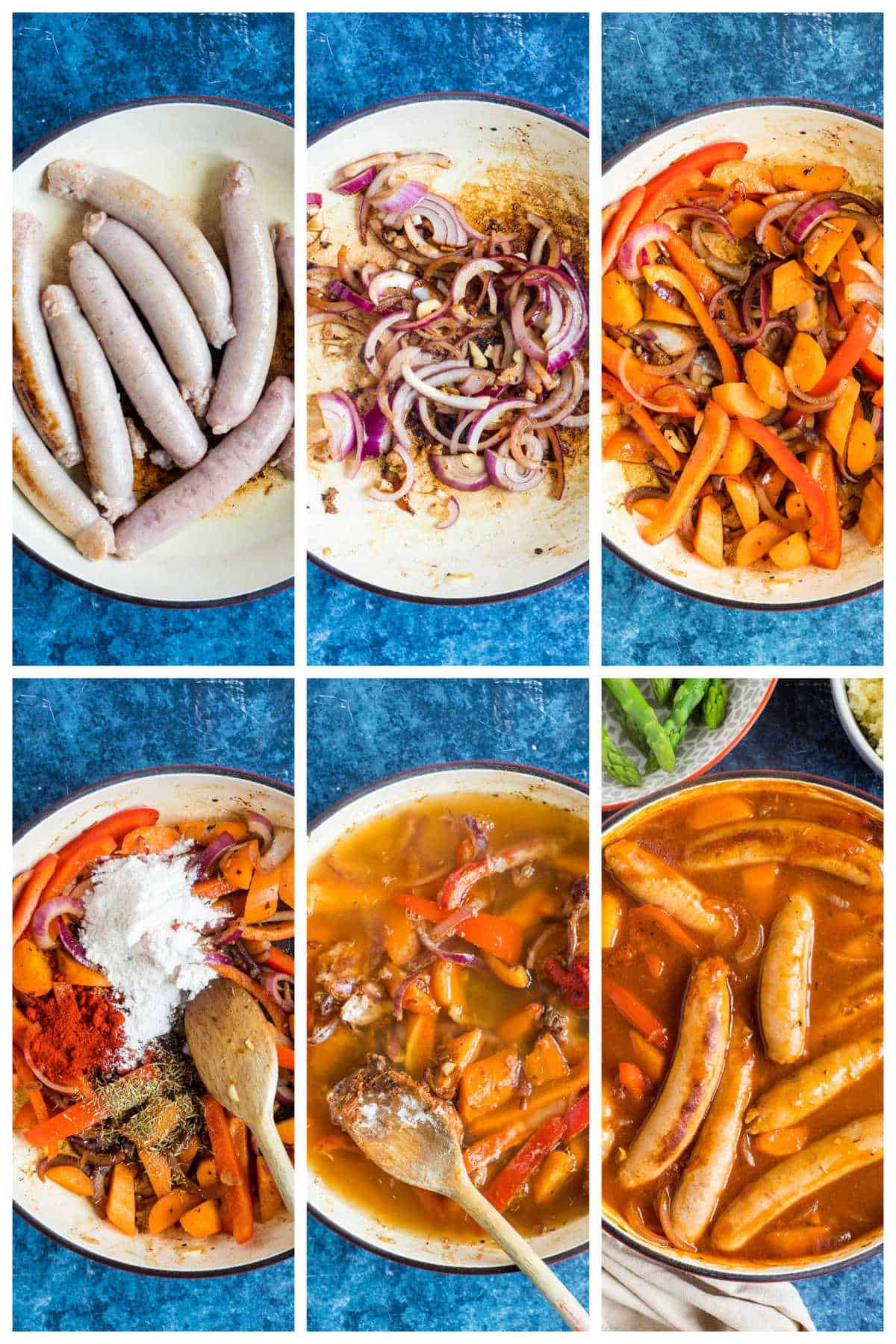 Step by step photo instructions for making sausage casserole.