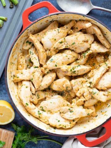 Garlic butter chicken is a pan.