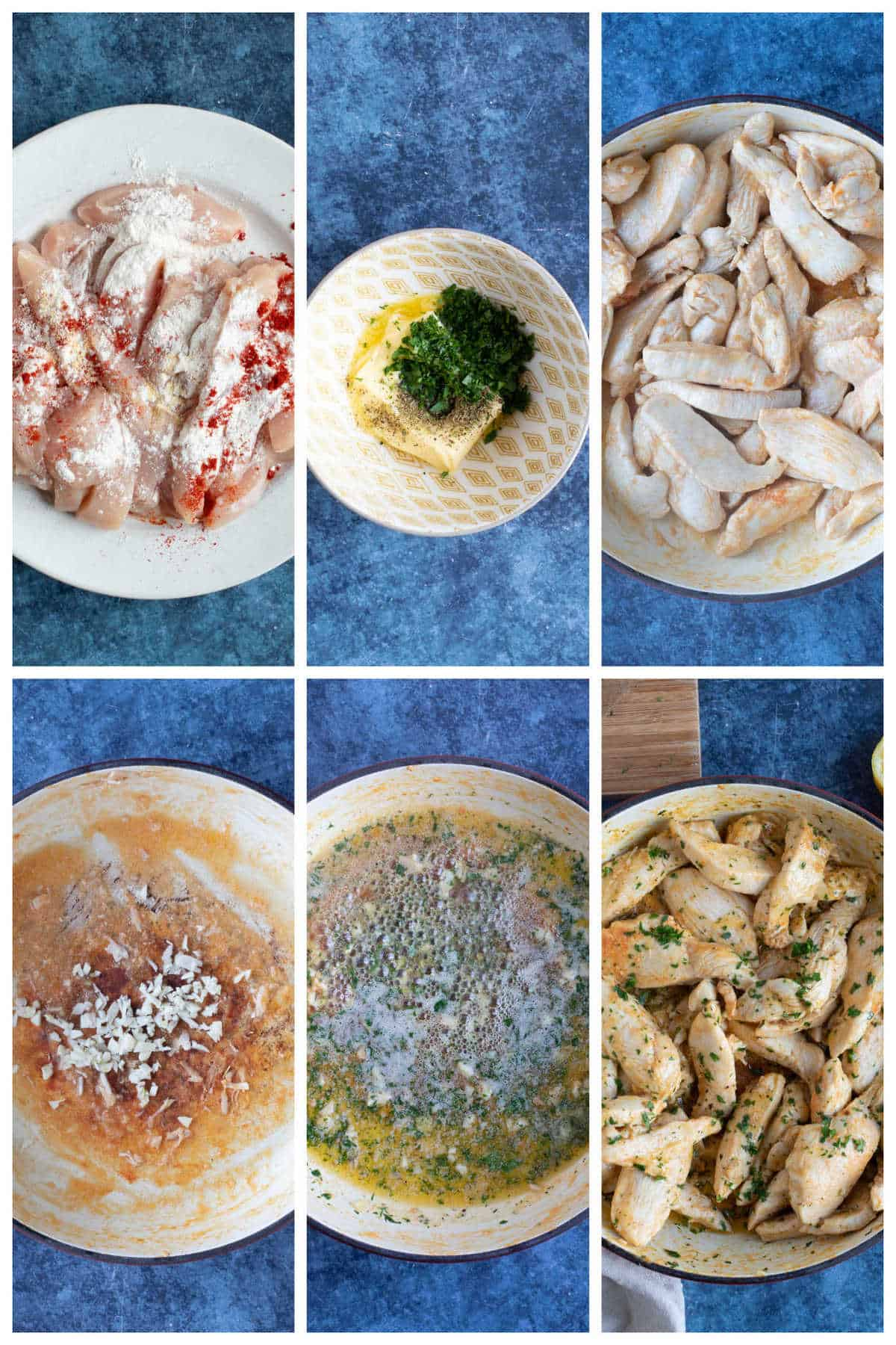 Step by step photo instruction collage for making garlic butter chicken.