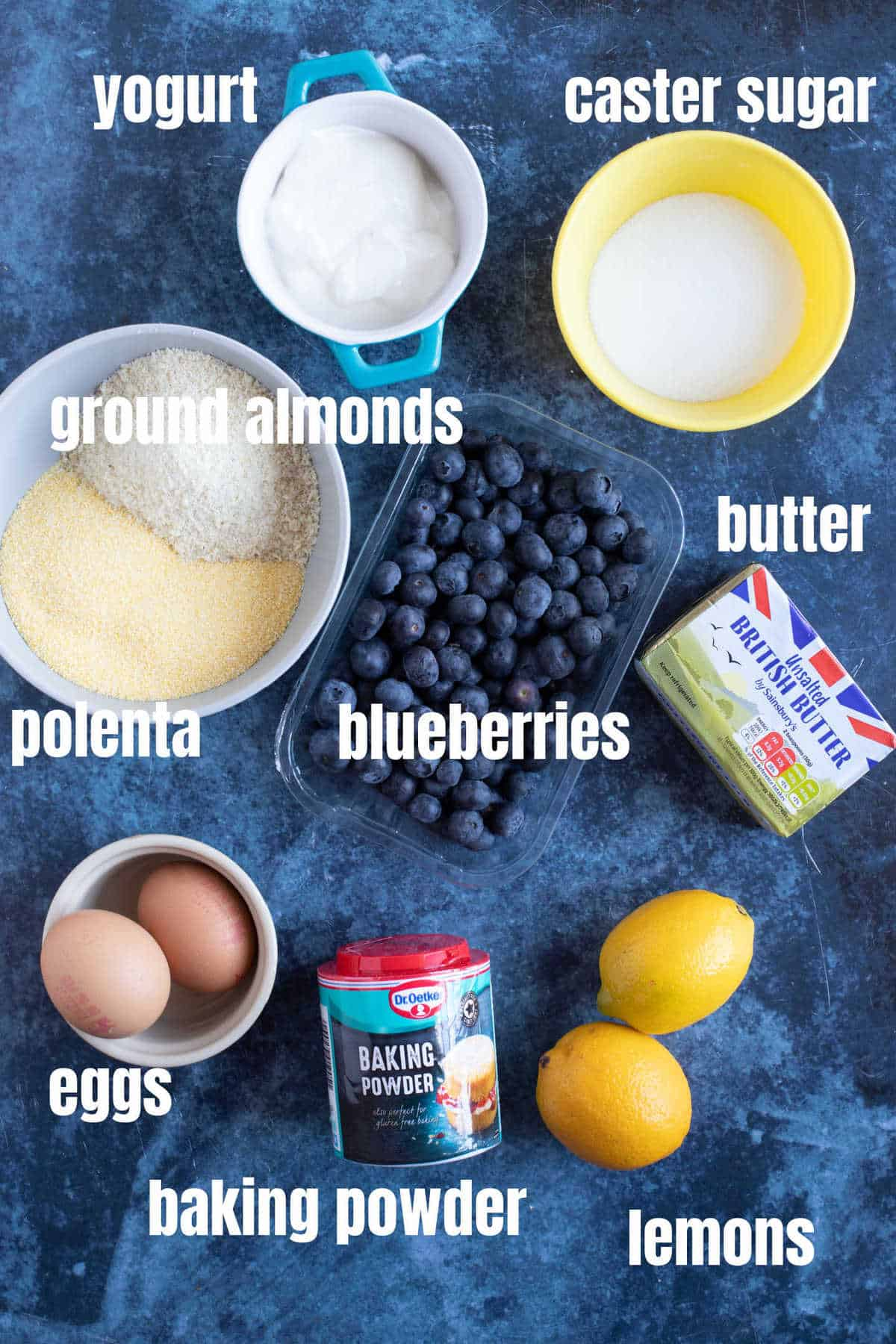 Ingredients for making the lemon polenta cake.