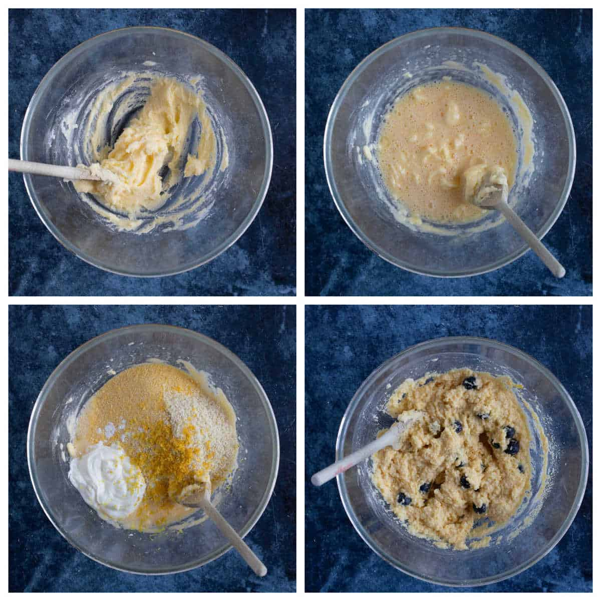 Step by step photo instructions for making the polenta loaf cake.