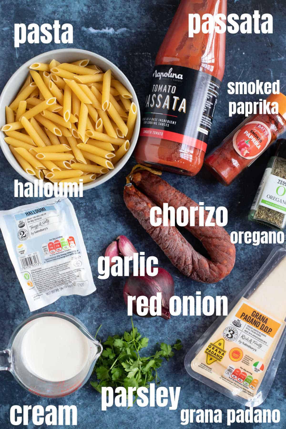 Ingredients for halloumi pasta.