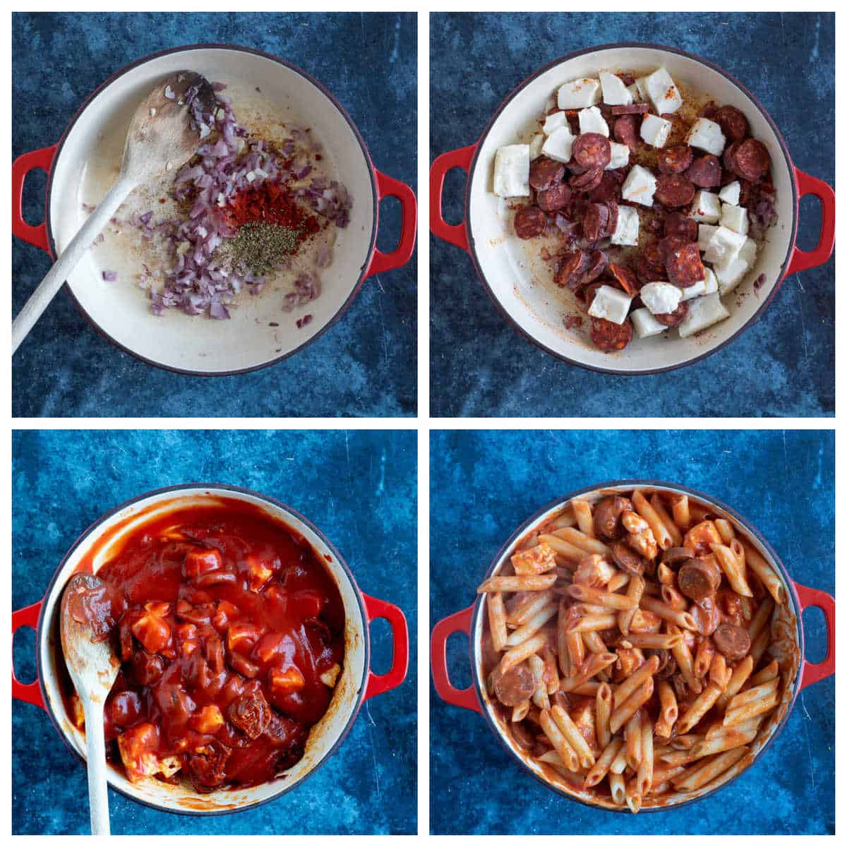 Step by step photo instructions for making the halloumi pasta.