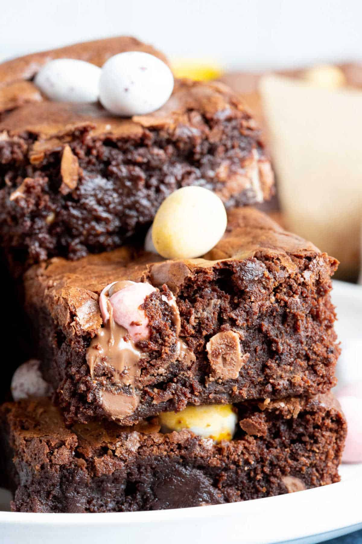 A close up of mini egg brownies.