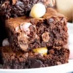 A stack of mini egg brownies.