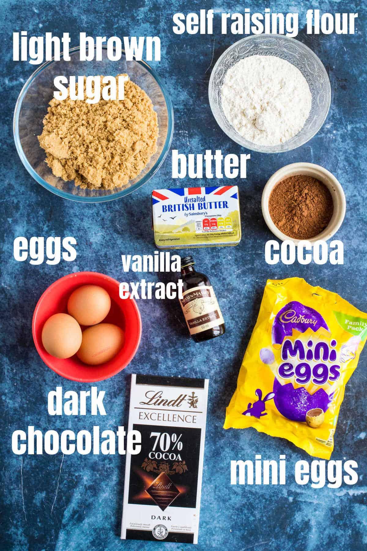 Ingredients needed to make mini egg brownies.