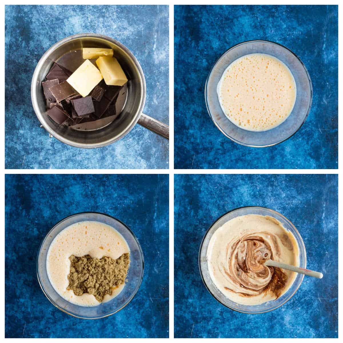 Step by step photo instructions for making mini egg brownies part 1.