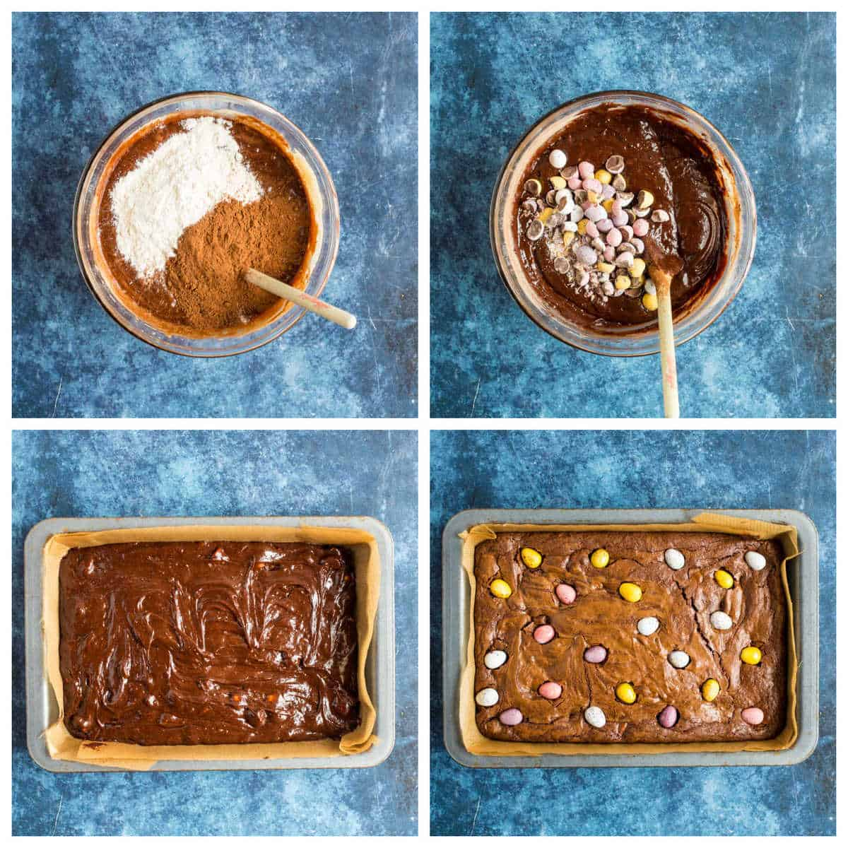 Step by step photo instructions for making mini egg brownies part 2.