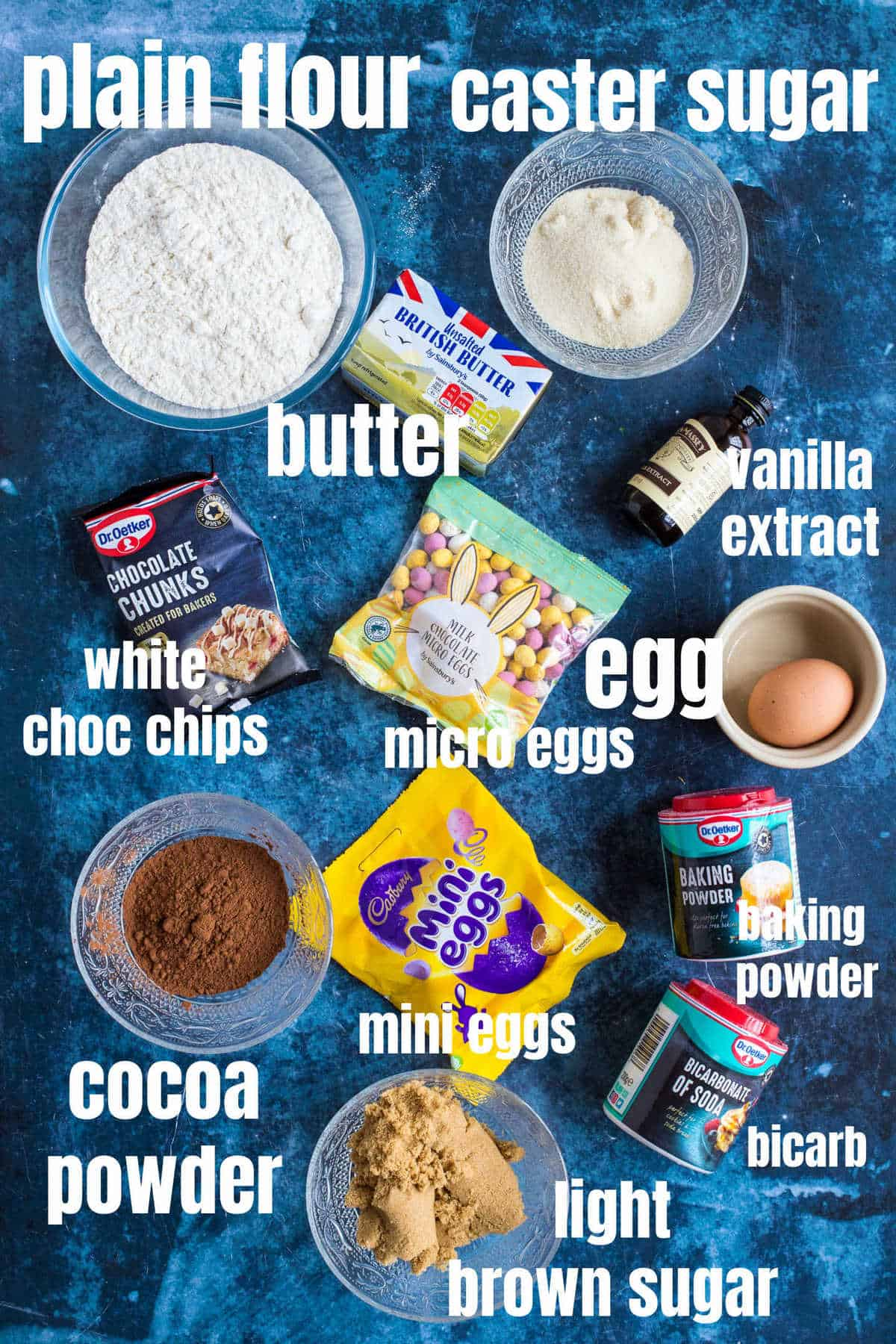 Ingredients for chocolate mini egg cookies.