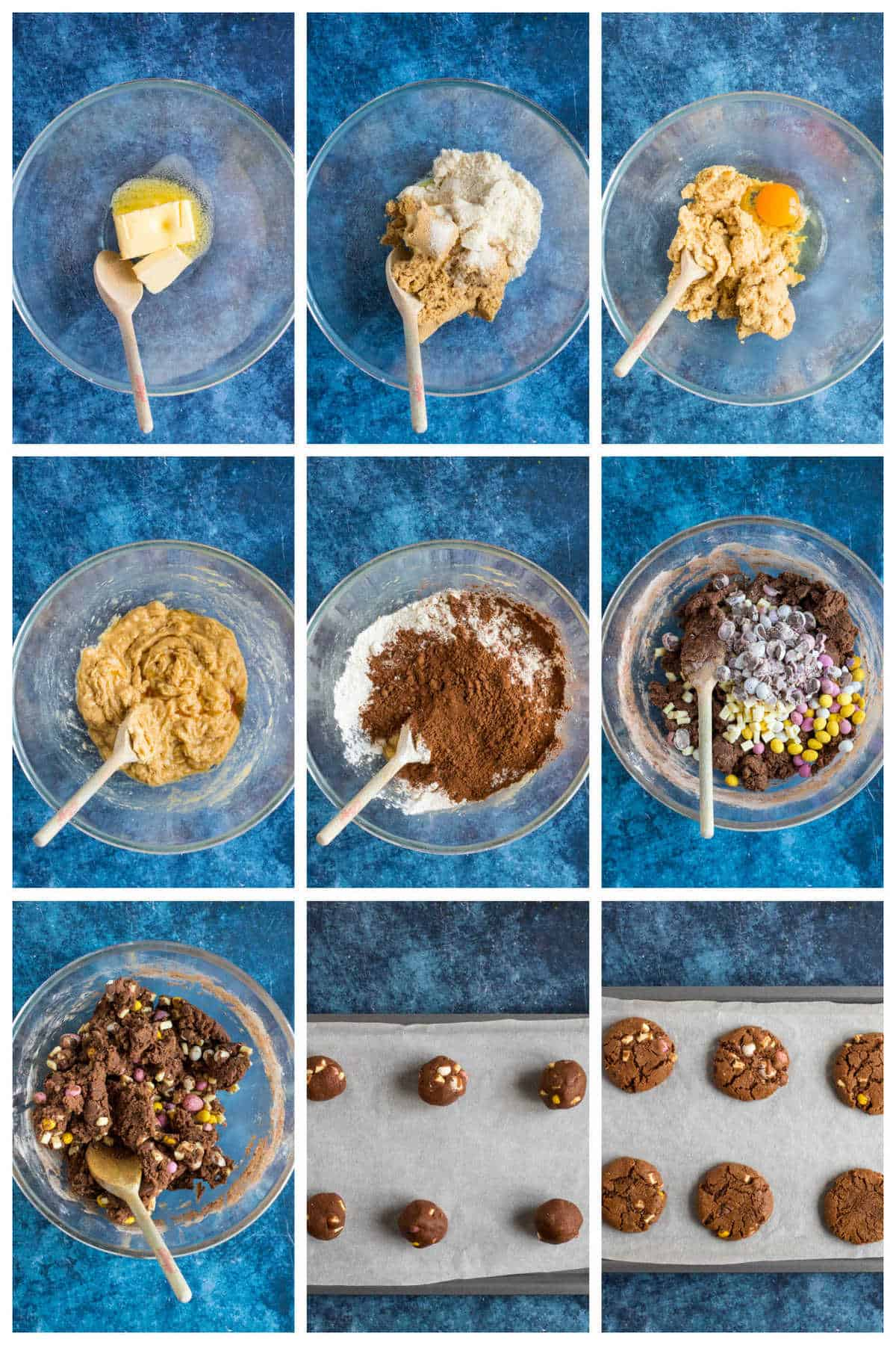 Step by step photo instructions for making mini egg cookies.