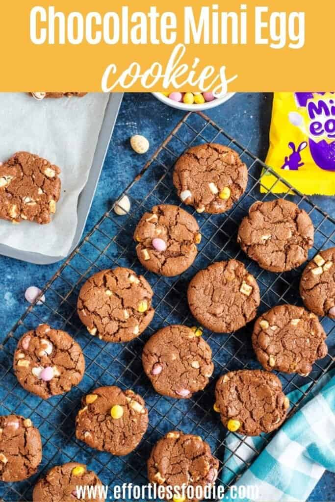 Chocolate mini egg cookies pin image with text overlay.