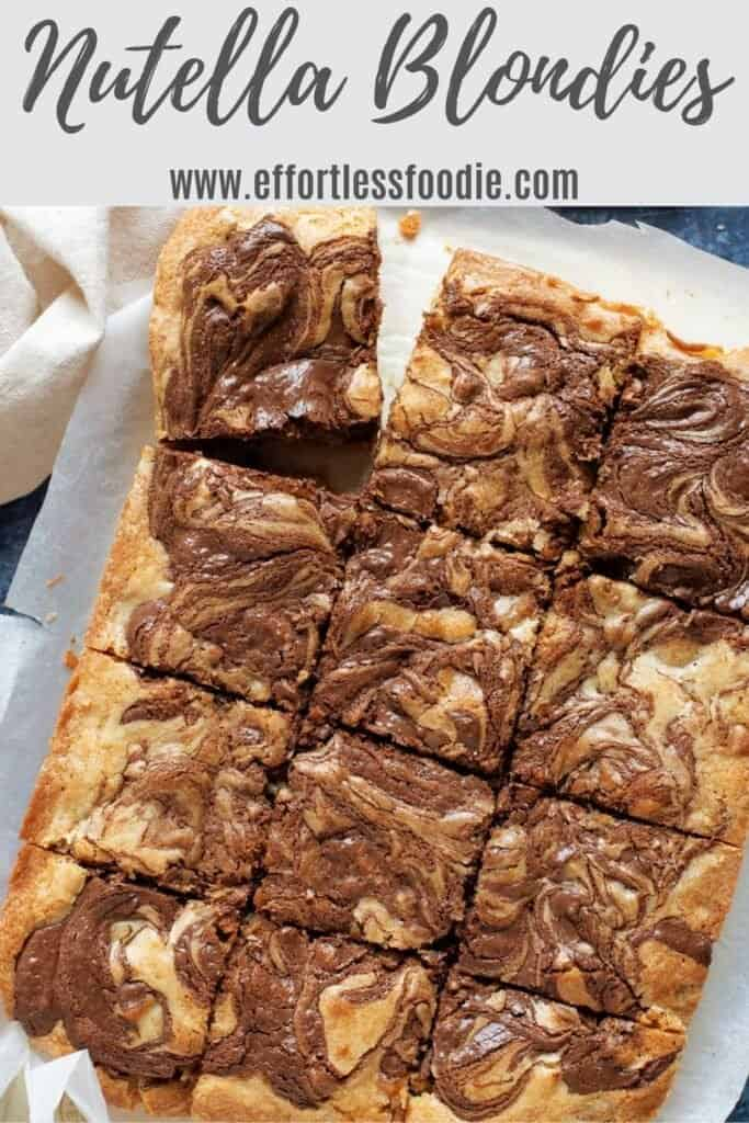 Nutella blondies pin image.