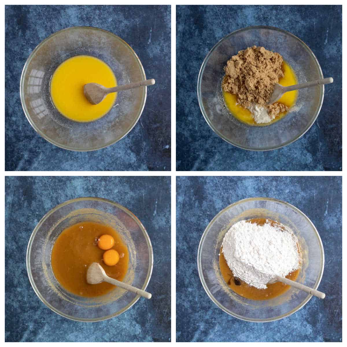 Step by step photo instructions for making nutella blondies.