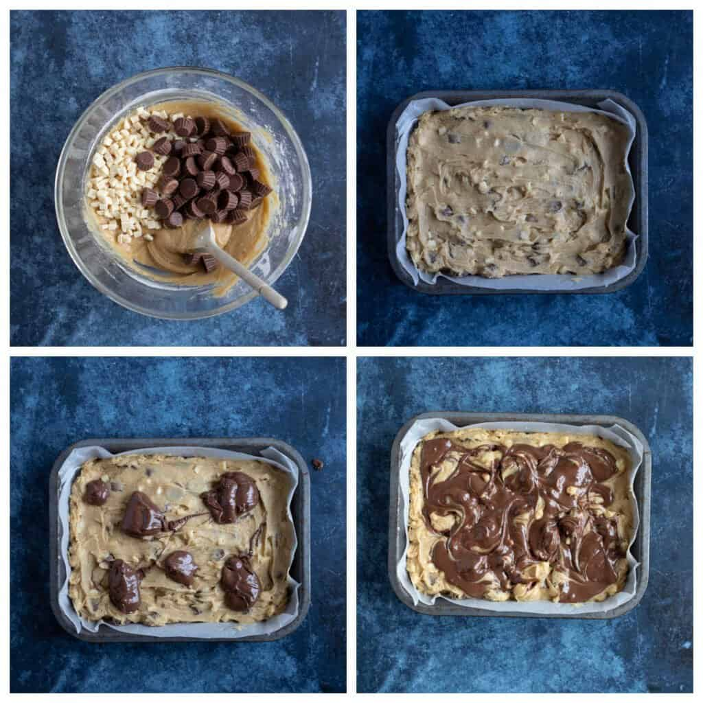 Step by step photo instructions for making nutella cookie bars.