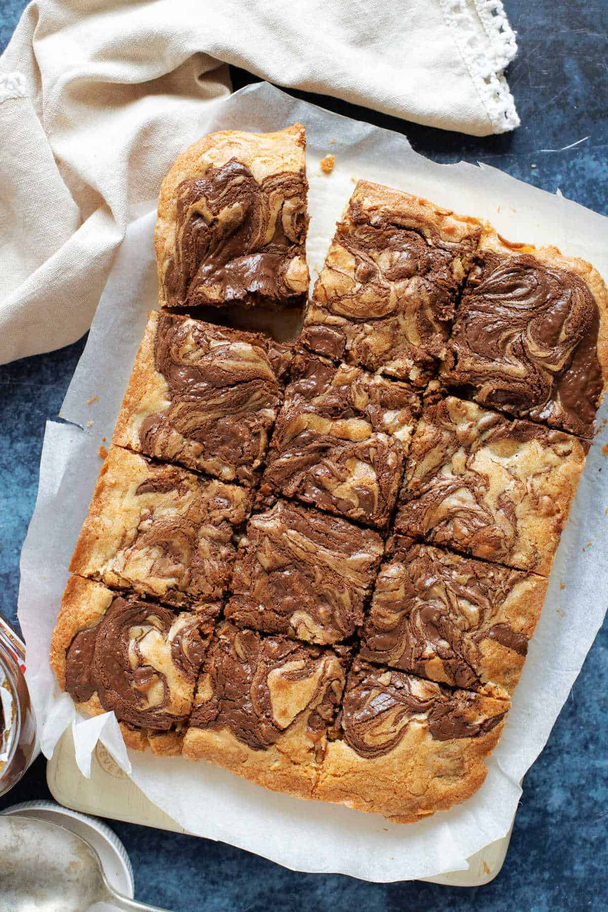 Nutella blondies cut into bars.