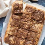Nutella blondies cut into squares.