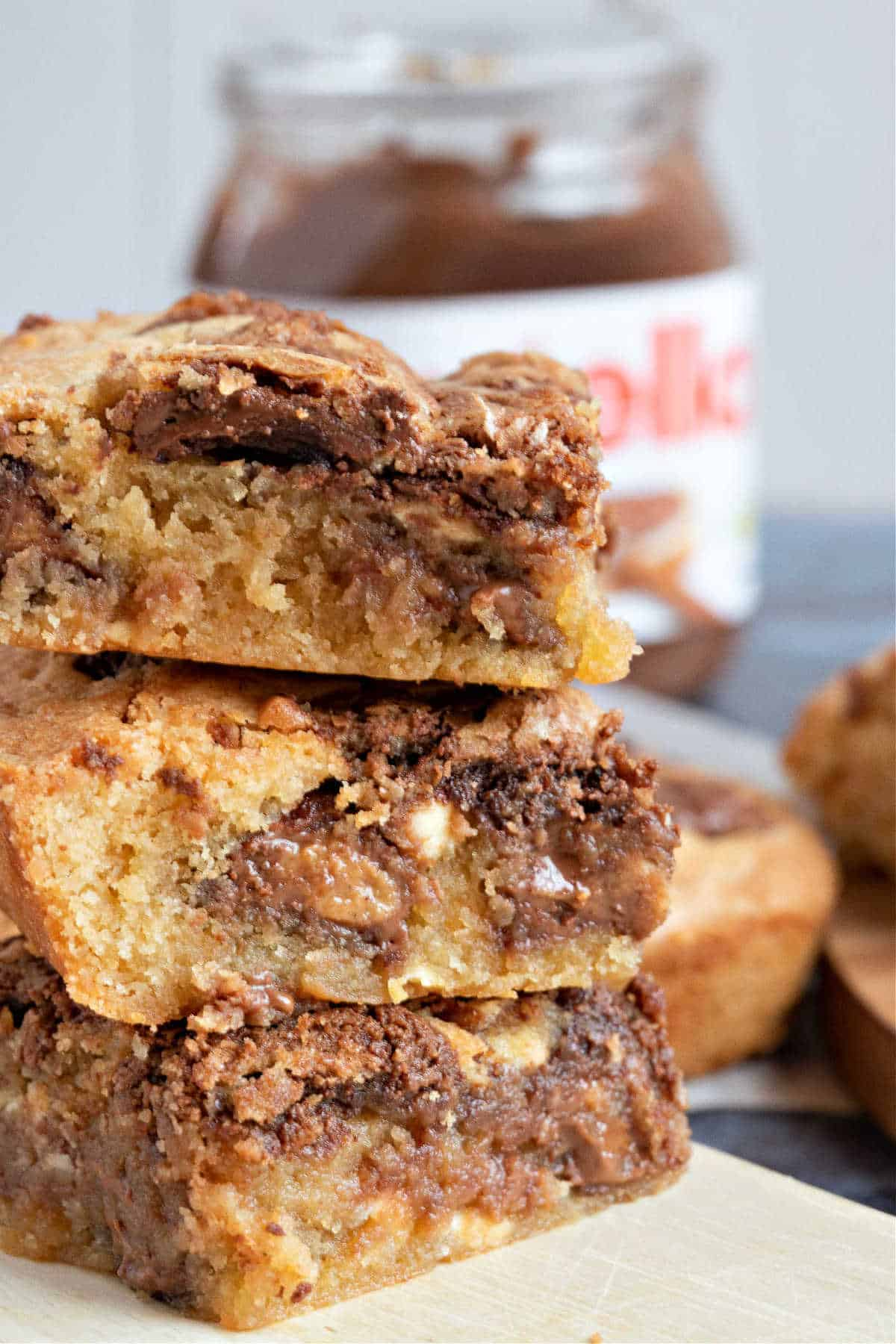 3 Nutella blondies stacked on top of each other.