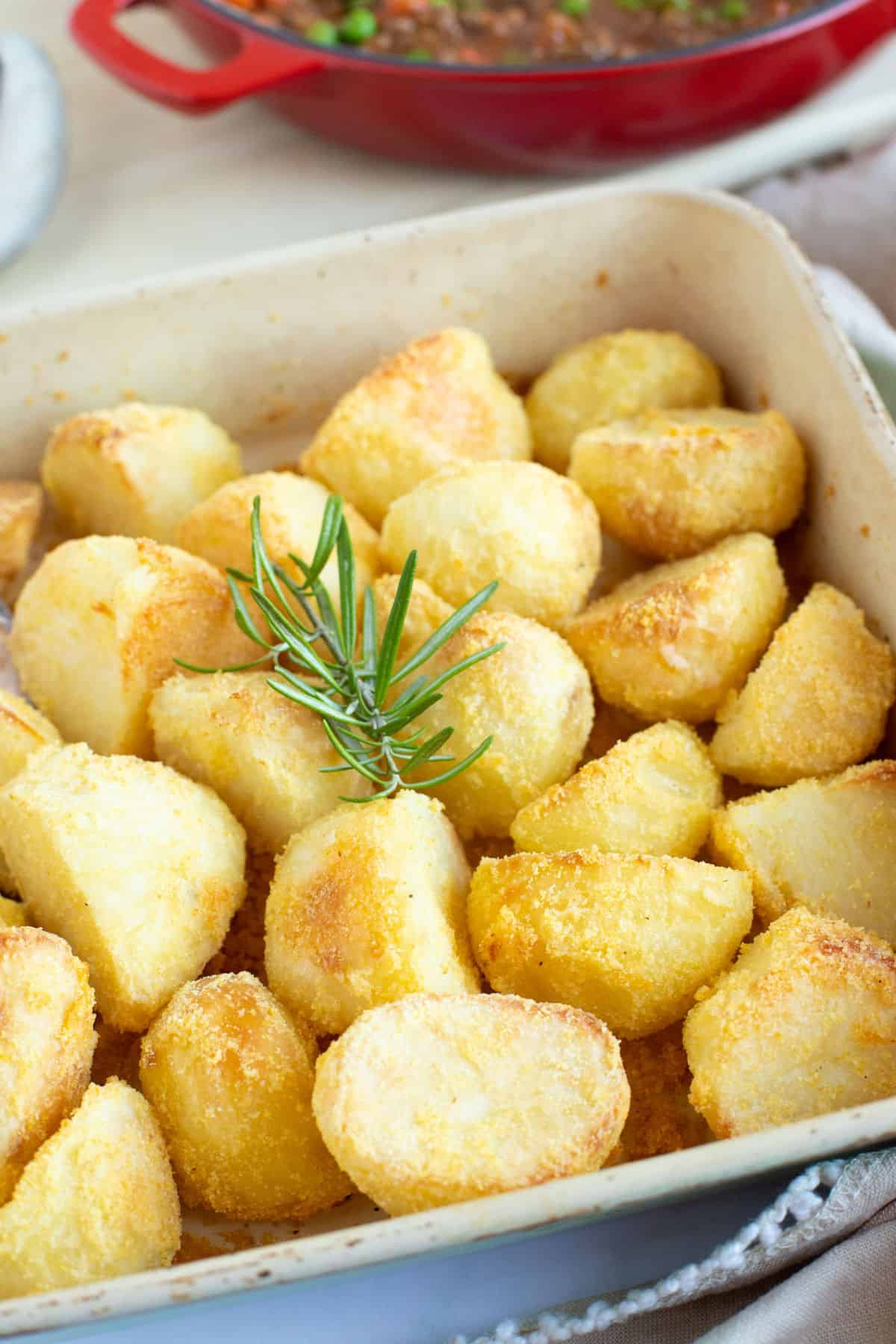 Polenta roasties in a roasting pan.
