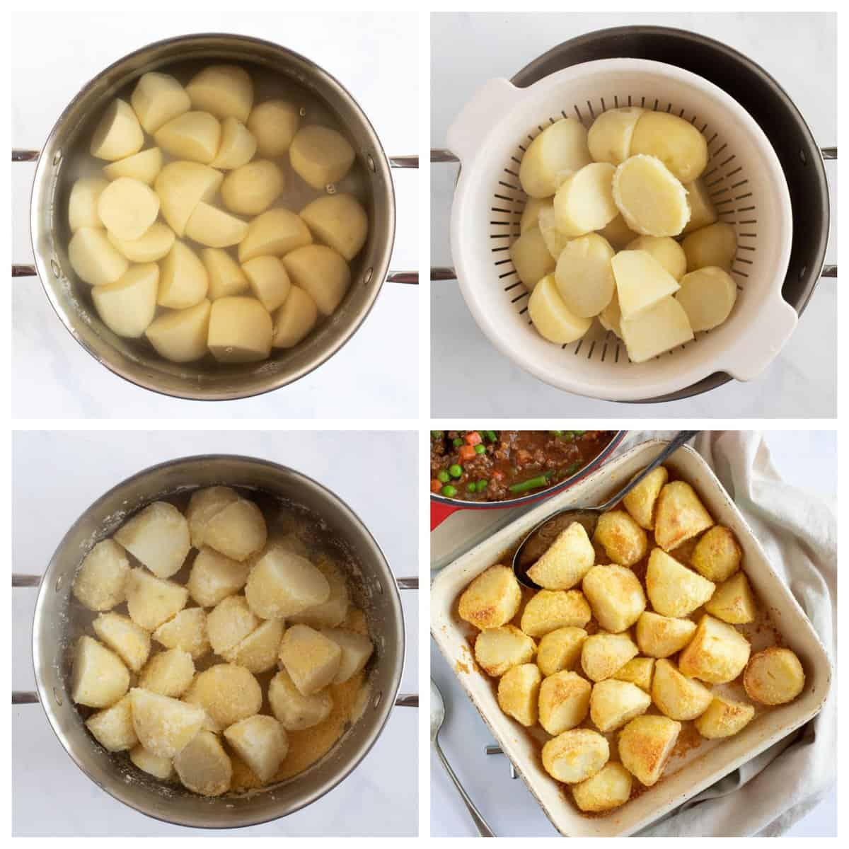 Step by step photo instructions for making the crispy roast potatoes.