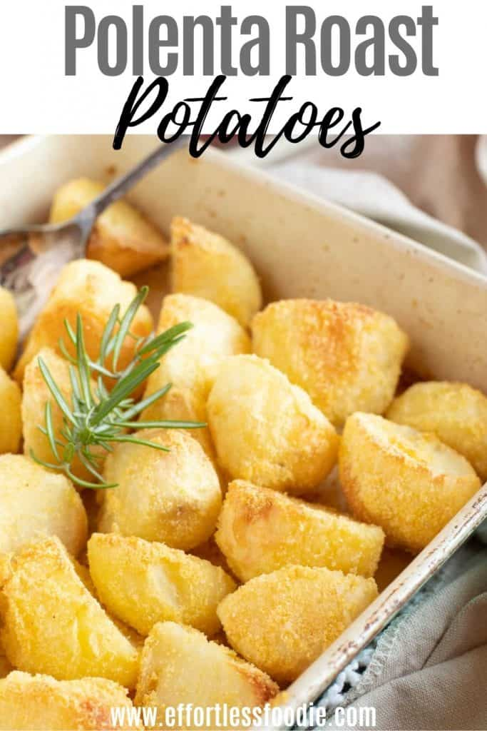 Polenta roast potatoes in a roasting pan with rosemary pin image