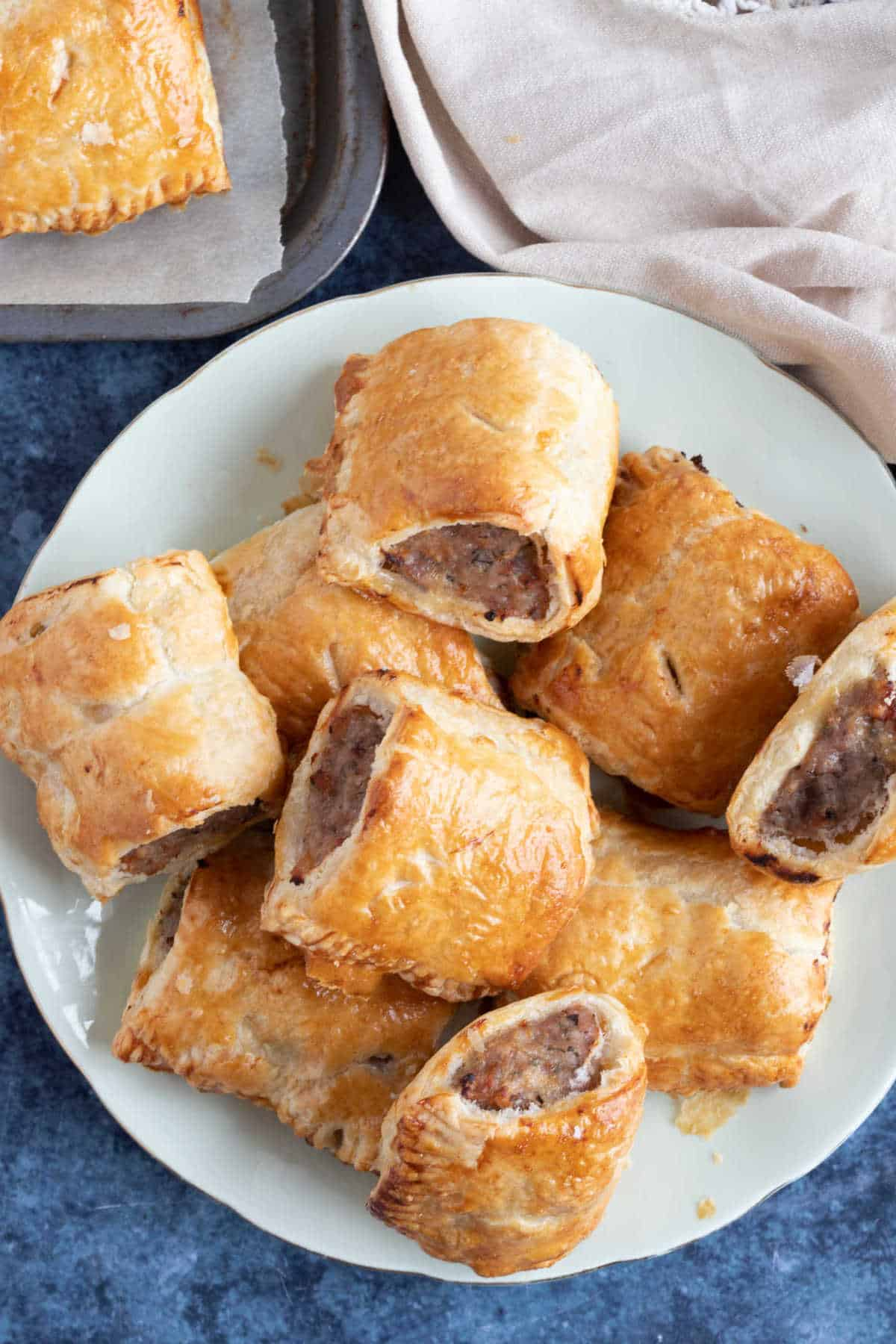 A plate of sausage rolls.