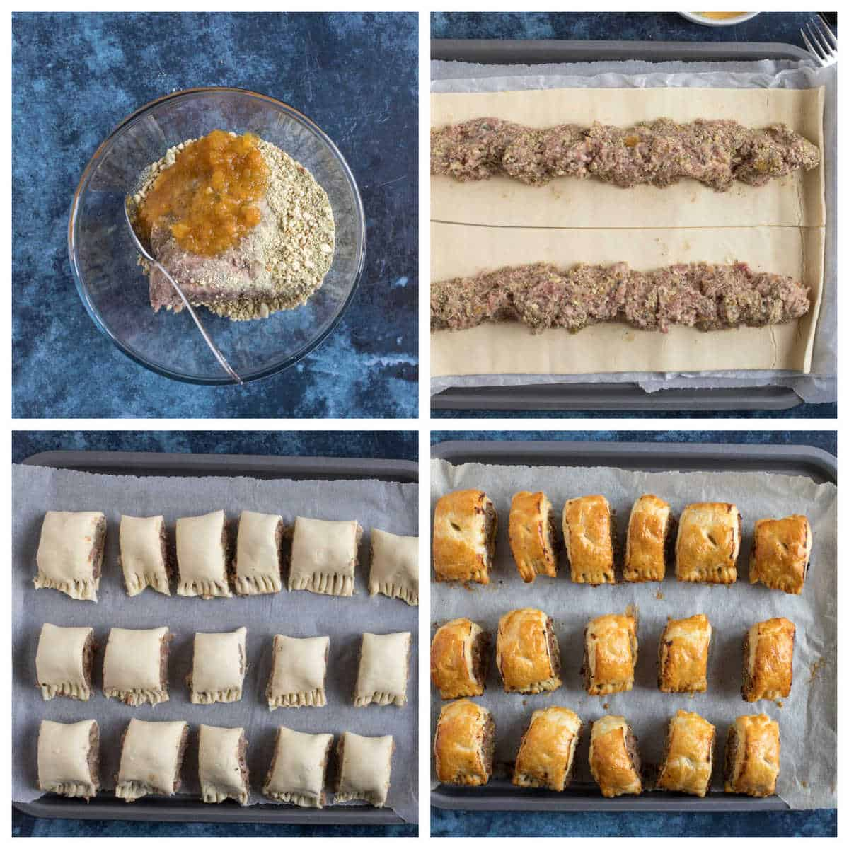 Step by step photo instructions for making puff pastry sausage rolls.