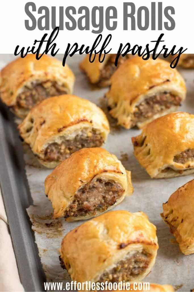 Puff pastry sausage rolls pin image with text overlay.