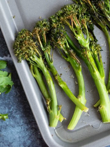 Roasted tenderstem broccoli.