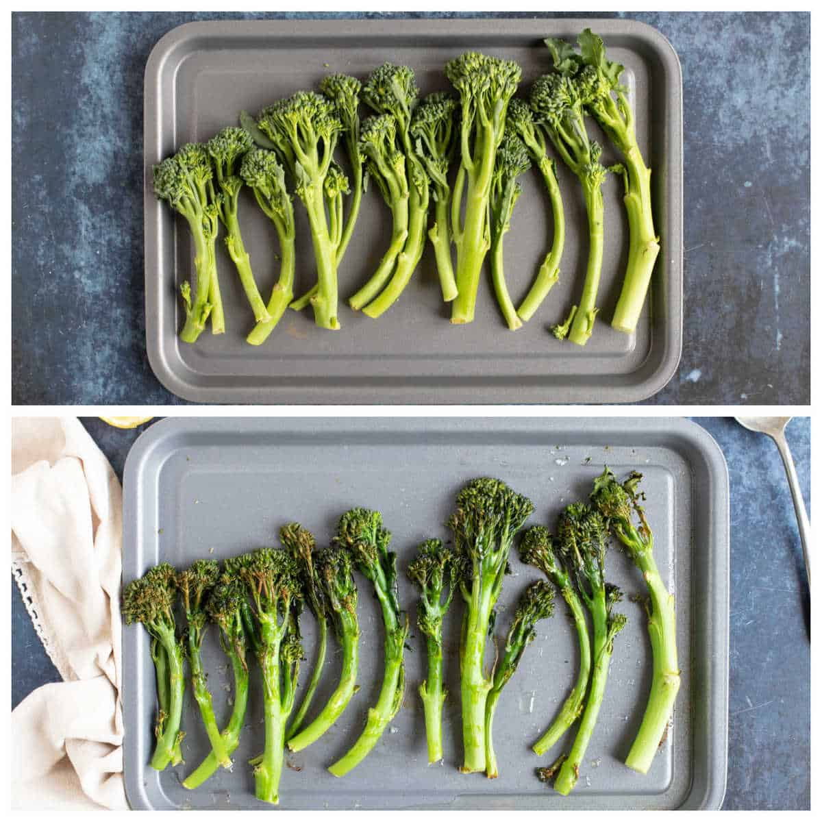 Step by step photo for making roasted tenderstem broccoli.