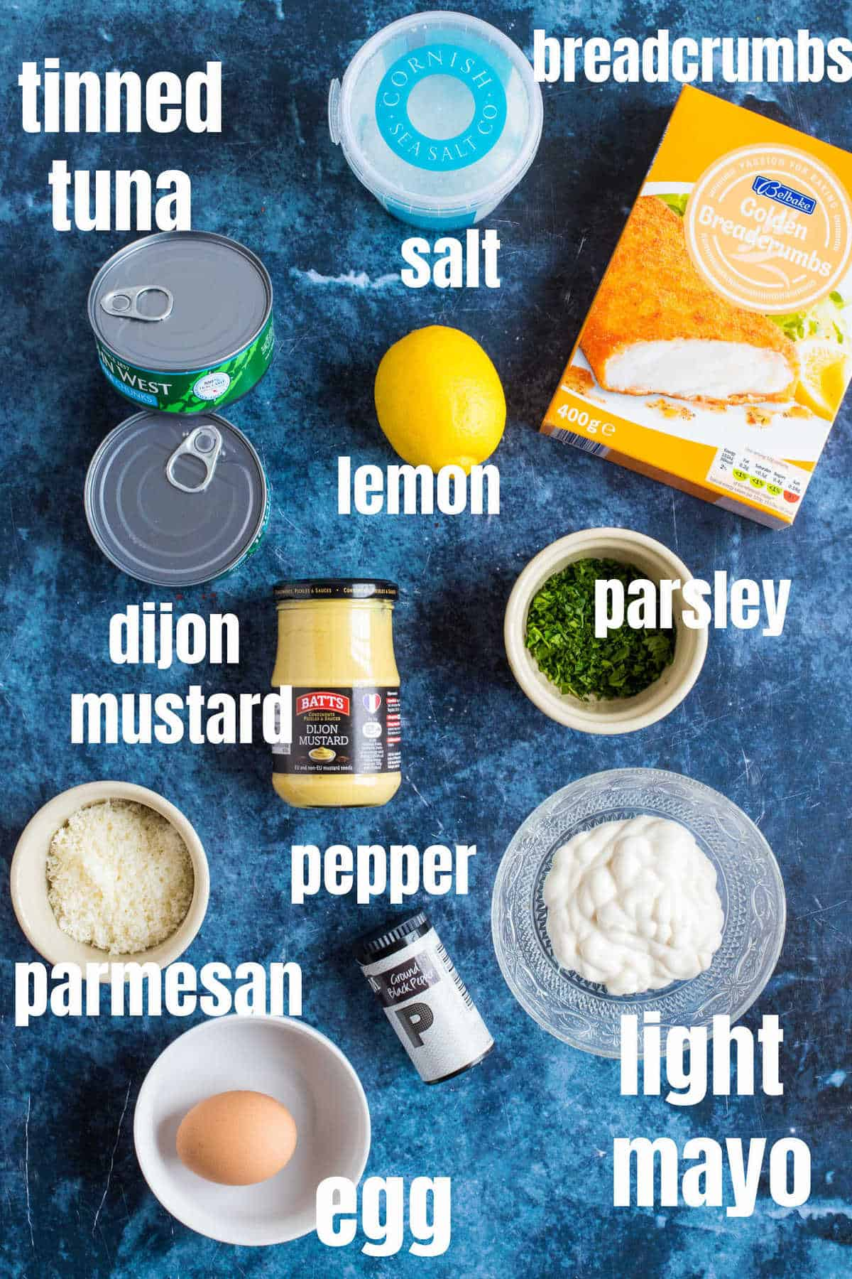 Ingredients needed to make the tinned tuna burgers.