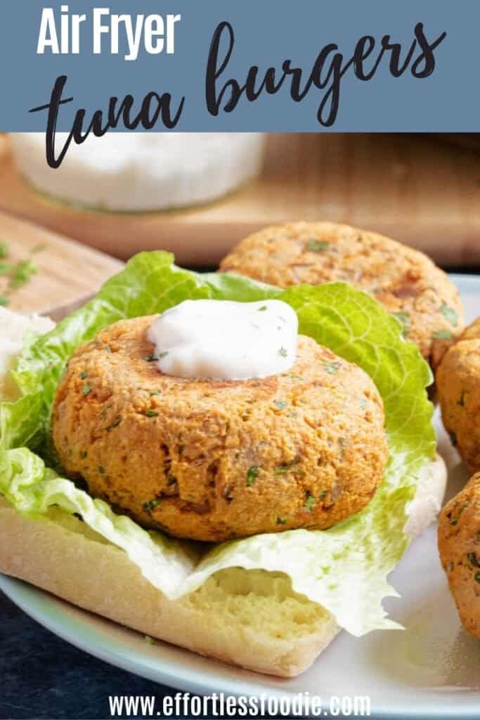 Tuna burgers Pinterest pin image with text overlay.