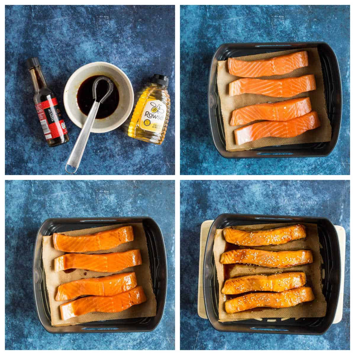 Step by step photo instructions collage for making air fryer salmon.