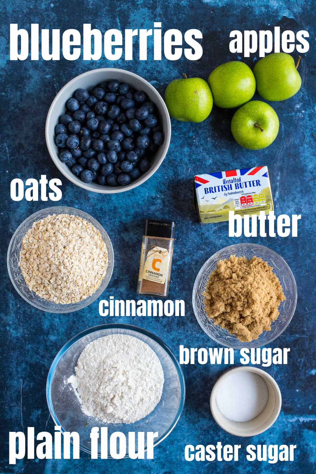 Ingredients needed to make the apple and blueberry crumble.