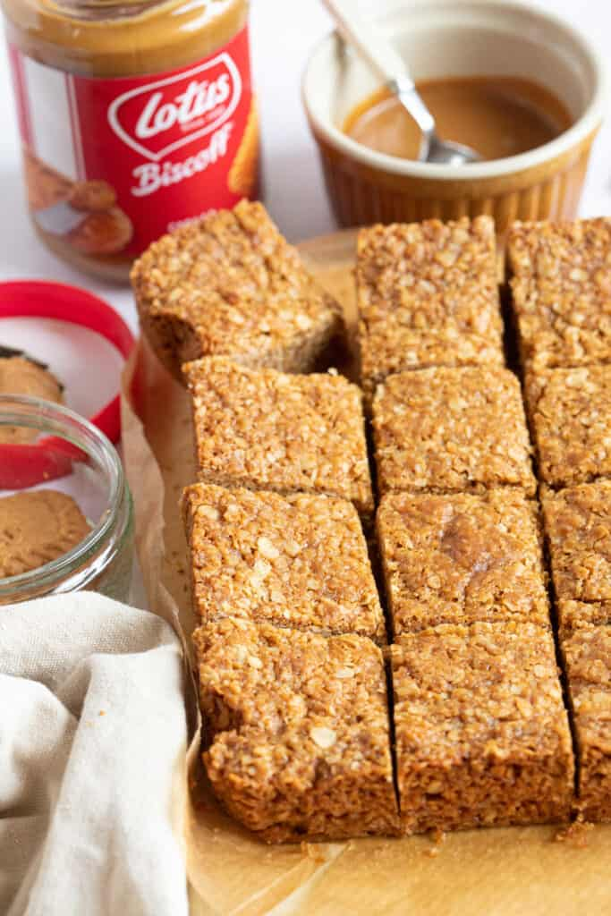 Biscoff flapjack cut into squares.