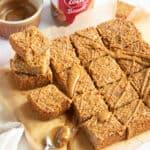 Biscoff flapjacks cut into squares.