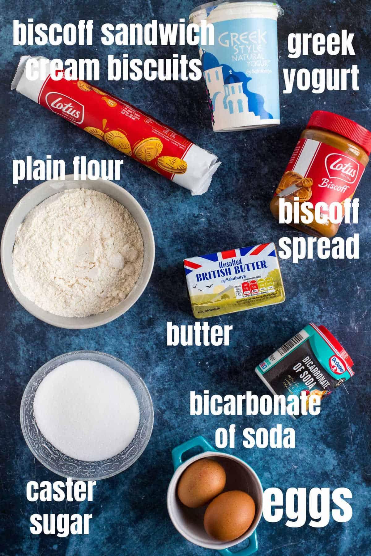 Ingredients for biscoff muffins.