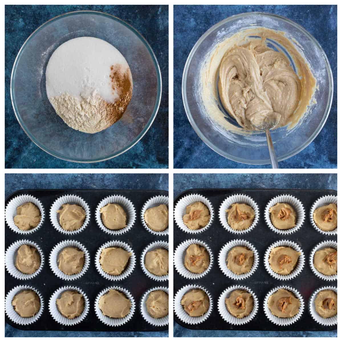 Step by step biscoff muffins.