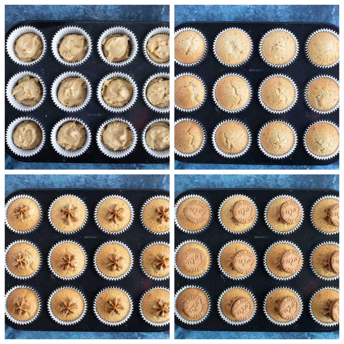 Step by step biscoff muffins part 2 collage.