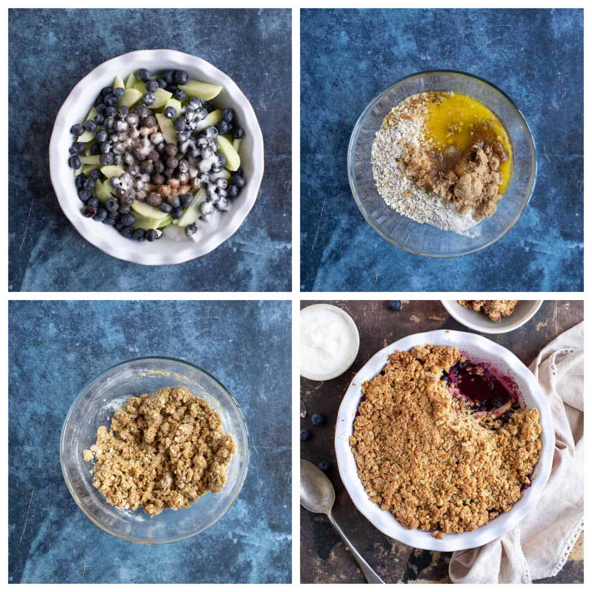 Step by step photo instructions for making apple and blueberry crumble.