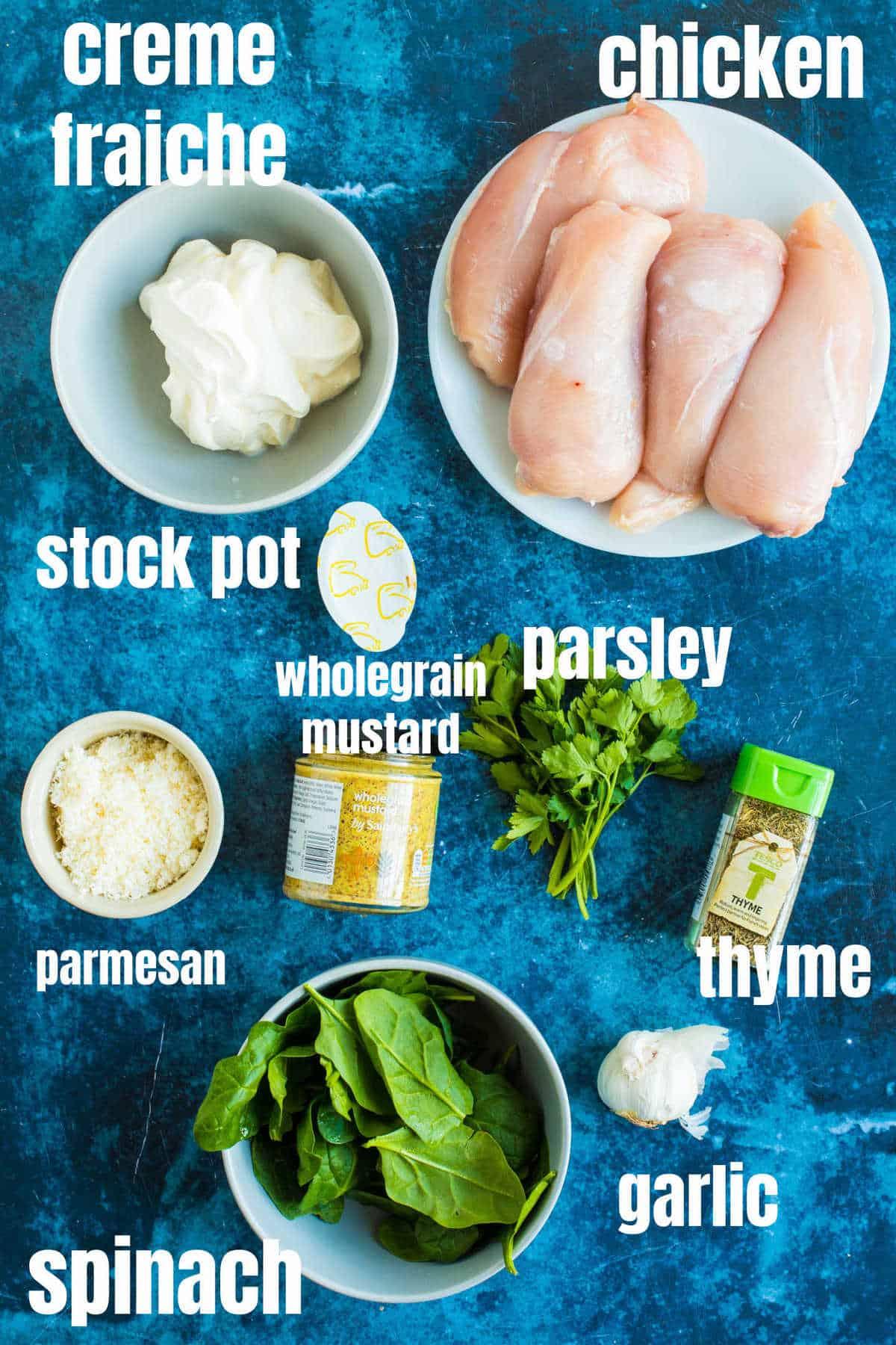 Ingredients for crème fraiche chicken.
