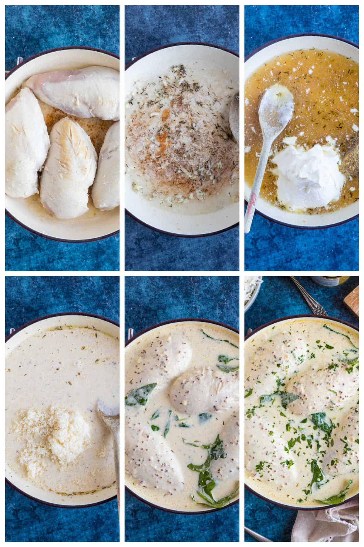Step by step photo instructions for making the crème fraiche chicken.
