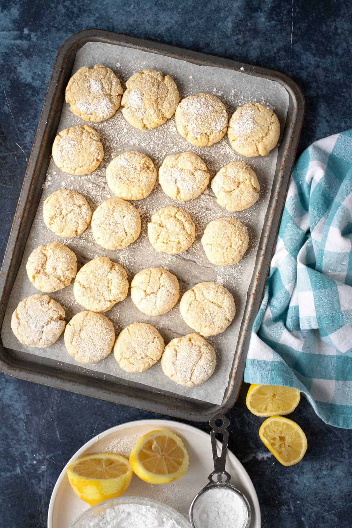 A tray of baked lemon biscuits.