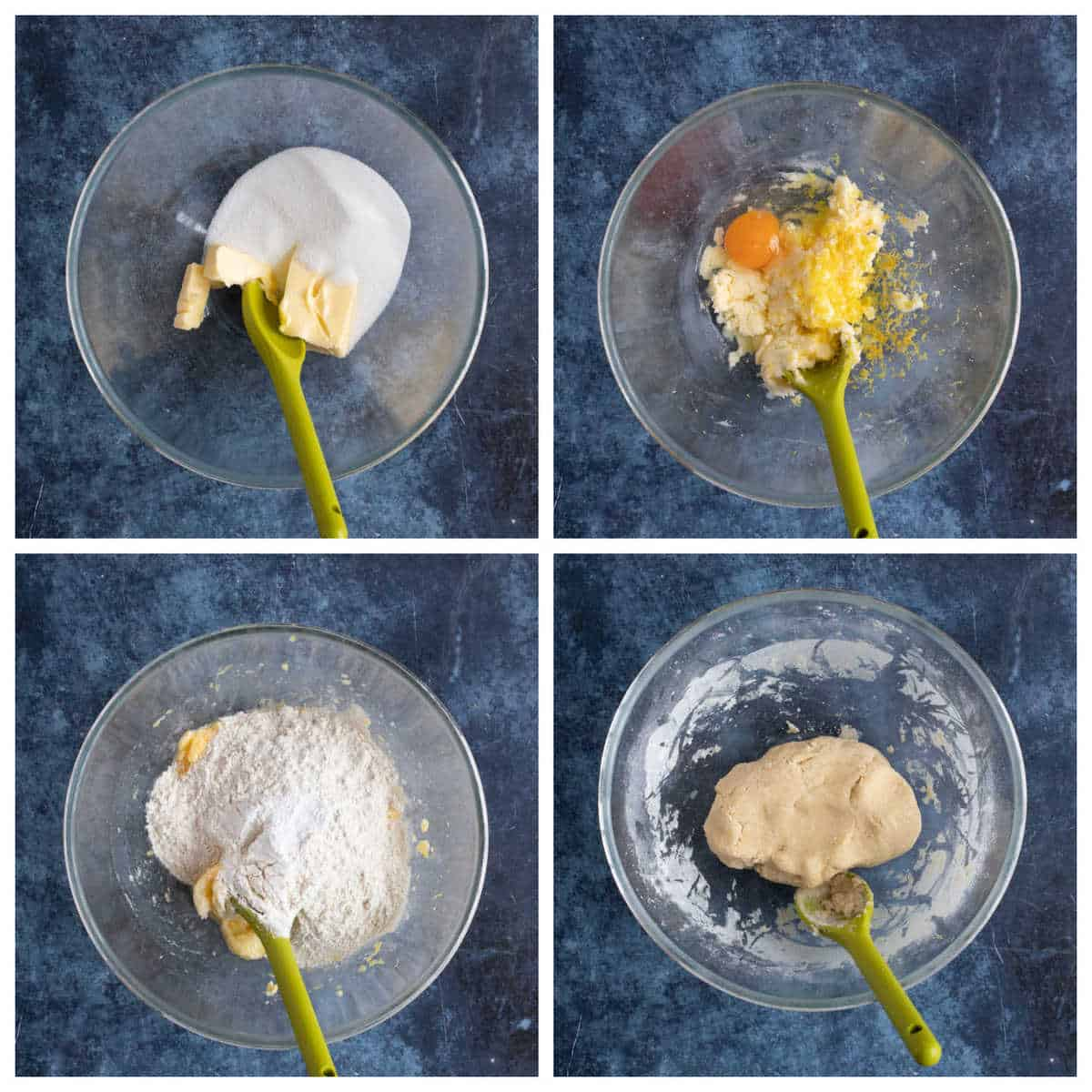 Main steps for making lemon biscuits.