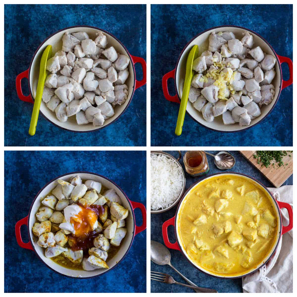 Step by step photo instructions for making mango chutney chicken curry.