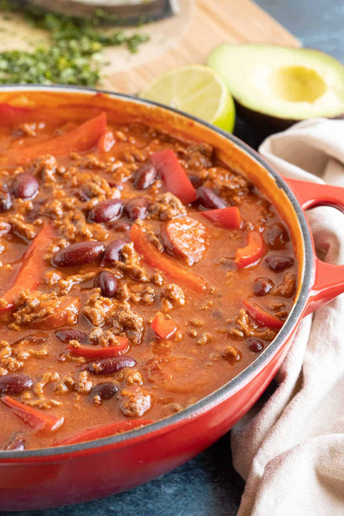 Close-up photo of the mild chilli con carne.
