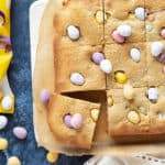 mini egg cookie bars cut into slices.