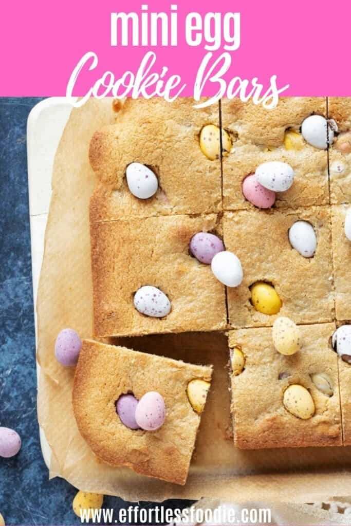Mini egg cookie bars Pin image for Pinterest.