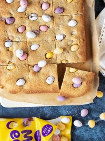 Mini Egg Cookie Bars Web Story Cover.